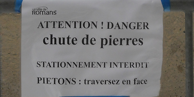 Attention, chute de pierres rue Saint-Just !
