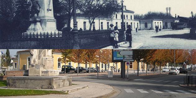 Hier et aujourd'hui : le monument des Etats du Dauphiné et la gare