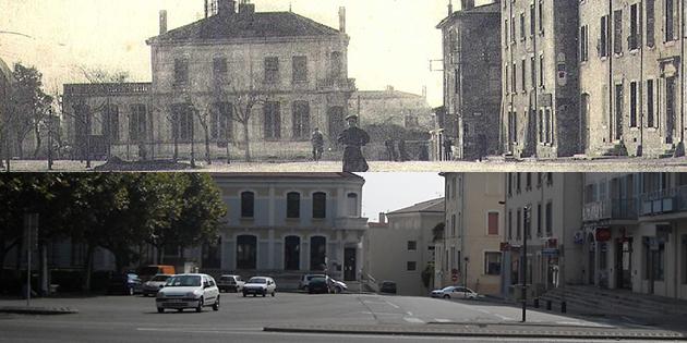 Hier et aujourd'hui : le Trésor Public (ancien Hôtel des Postes) et le Champ de Mars