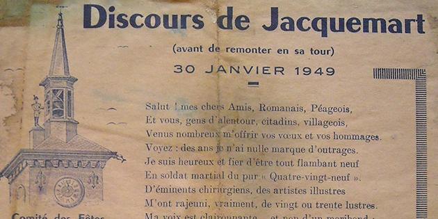 """""""Discours de Jacquemart avant de remonter en sa tour"""", le 30 janvier 1949"""