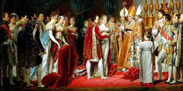 Mariage arrangé de deux militaires romanais en l'honneur de l'union entre Napoléon Ier et Marie-Louise d'Autriche