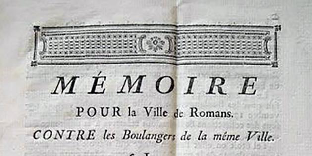 Mémoire pour la ville de Romans contre les boulangers de la même ville, en 1776