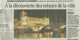 """Le Dauphiné Libéré, 17 septembre 2011 : """"A la découverte des trésors de la ville"""""""