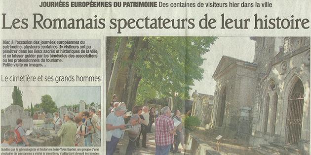"""Le Dauphiné Libéré, 18 septembre 2011 : """"Les romanais spectateurs de leur histoire"""""""