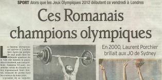 """Le Dauphiné Libéré, 23 juillet 2012 : """"Ces romanais champions olympiques"""""""