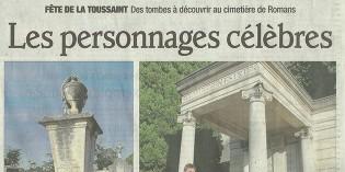 """Le Dauphiné Libéré, 1er novembre 2012 : """"Les personnages célèbres"""""""