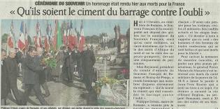 """Le Dauphiné Libéré, 2 novembre 2012 : """"Qu'ils soient le ciment du barrage contre l'oubli"""""""