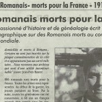 """L'Impartial, 8 novembre 2012 : """"Soldats romanais Morts pour la France"""""""