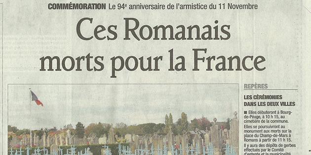 """Le Dauphiné Libéré, 11 novembre 2012 : """"Ces romanais Morts pour la France"""""""