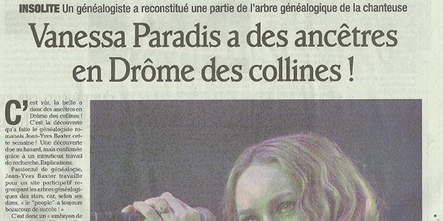 """Le Dauphiné Libéré, 27 janvier 2013 : """"Vanessa Paradis a des ancêtres en Drôme des collines !"""""""