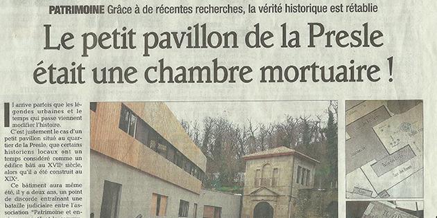 """Le Dauphiné Libéré, 2 février 2013 : """"Le petit pavillon de la Presle était une chambre mortuaire !"""""""