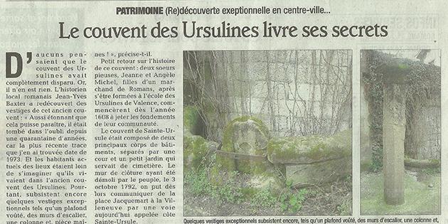 """Le Dauphiné Libéré, 28 mars 2013 : """"Le monastère de Sainte-Ursule livre ses secrets"""""""