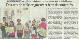 """Le Dauphiné Libéré, 4 mai 2013 : """"Des sets de table originaux et bien documentés"""""""