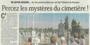"""Le Dauphiné Libéré, 30 juillet 2013 : """"Percez les mystères du cimetière !"""""""