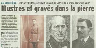 """Le Dauphiné Libéré, 1er novembre 2013 : """"Illustres et gravés dans la pierre"""""""