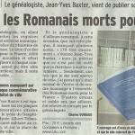 """Le Dauphiné Libéré, 15 juin 2014 : """"Il a recensé les romanais Morts pour la France"""""""