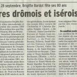 Le Dauphiné Libéré, 22 septembre 2014 : «Les ancêtre drômois et isérois de Brigitte Bardot»