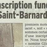Le Dauphiné Libéré, 31 octobre 2014 : «Une inscription funéraire dans Saint-Barnard»