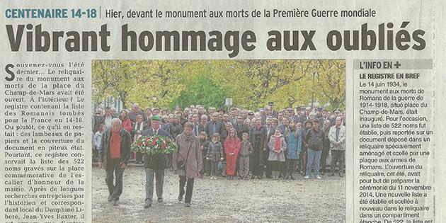 """Le Dauphiné Libéré, 12 novembre 2014 : """"Vibrant hommage aux oubliés"""""""