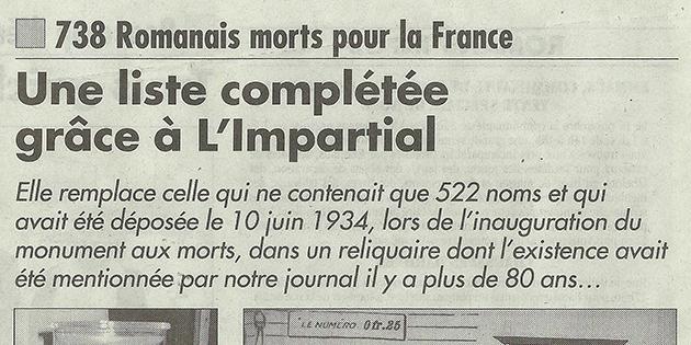 """L'Impartial, 13 novembre 2014 : """"Une liste complétée grâce à L'Impartial"""""""