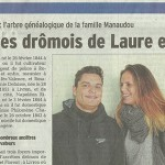 Le Dauphiné Libéré, 17 avril 2015 : «Les ancêtres Drômois (et romanais) de Laure et Florent Manaudou»