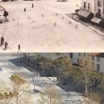 Hier et aujourd'hui : la place Ernest Gailly vue depuis la tour Jacquemart