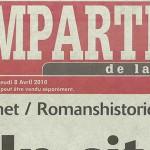 """L'Impartial, 8 avril 2010 : """"Le site Internet de référence"""""""