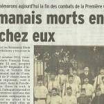 """Le Dauphiné Libéré, 11 novembre 2013 : """"Ces romanais morts ensemble, loin de chez eux"""""""