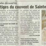 """Le Dauphiné Libéré, 2 décembre 2013 : """"D'autres vestiges du monastère de Sainte-Ursule"""""""